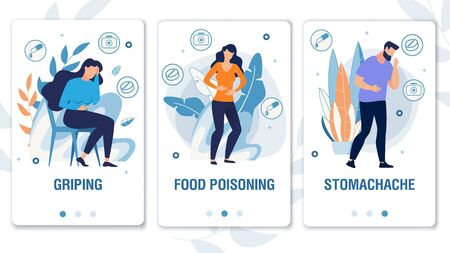 Cartoon People Characters with Weakness Symptoms, Suffering from Pain. Griping, Food Poisoning, Stomachache. Mobile Social Media Landing Page Set. Telemedicine. Foliage Design. Vector Illustration