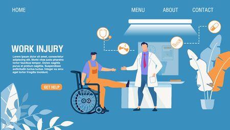 Page de destination du service en ligne de diagnostic et de traitement des accidents du travail. Médecin de dessin animé consultant et examinant un patient avec un traumatisme de la jambe assis en fauteuil roulant. Aide d'urgence. Illustration plate vectorielle
