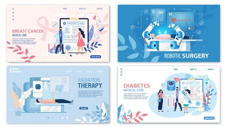 Online Medical Services Flat Landing Page Set. Breast Cancer Medicare, Robotic Surgery, Radiation Therapy, Diabetes Treatment and Control. Cartoon Doctors and Patients. Vector Illustration