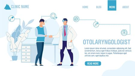 Landing Page Offering Otolaryngologist Help Order. Adult Man Patient Suffering from Ear Pain Visiting ENT Doctor. Cartoon People Characters and Medical Services. Vector Flat Illustration