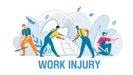 Medical Work Injury Flat Poster with Cartoon Man Workers Characters in Uniform Suffering from Different Kinds of Pain. Fracture, Sprain, Torsion Deformity, Amputation, Wound. Vector Illustration 向量圖像