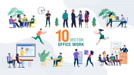 Business Team Office Work Trendy Flat Vector Isolated Scenes Set. Business Company Employees, Office Workers Sitting on Meeting or Seminar, Working Together, Boss Greeting Foreign Partner Illustration