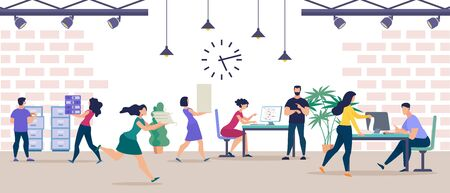 Informative Poster Large Office Team Cartoon. Men and Women Put Documents into Folders and Drawers. Employees Observe Deadline in Office. Boss Office and Looks at his Watch. Vector Illustration. Zdjęcie Seryjne - 134558422