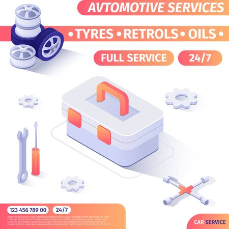 Round-the-Clock Automotive Repair Service Tools Shop Advertising Banner with Isometric Design and Contact Information. Box with Instruments. Magazine Cover Template. Vector 3d Illustration. Zdjęcie Seryjne - 134558425