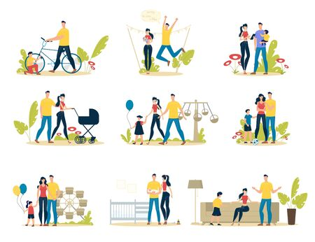 Happy Family Life Scenes Trendy Flat Vector Set. Parents with Child Having Fun in Amusement Park, Father and Son Repairing Bicycle, Couple Walking with Baby, Family Spending Time Together Illustration Ilustrace