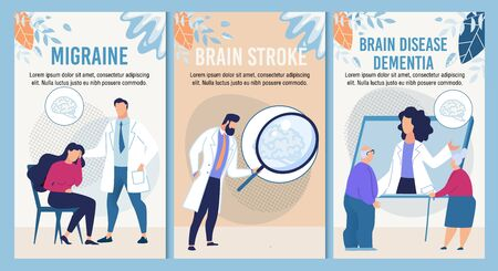 Migraine, Terrible Headache, Brain Stroke, Dementia Diagnosis Disease Therapy for Adult and Retired People. Webpage Banner Set for Online Medical Consultative Service. Vector Cartoon Flat Illustration
