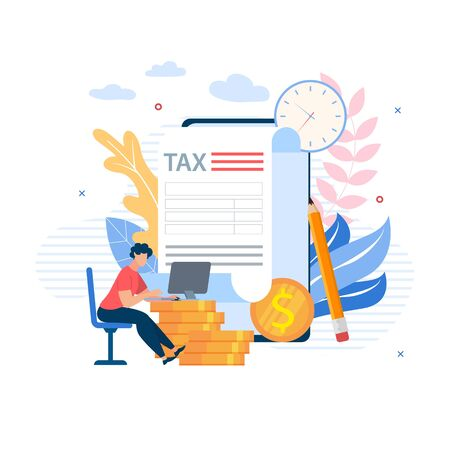 Advertising Banner Projects Budget Cartoon Flat.�Increase in Work Efficiency. Guy Sits at Table and Works at Laptop on Background Gold Coins and Large Document. Vector Illustration.