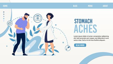 Online Gastroenterological Service Landing Page. Cartoon Man Patient Suffering from Stomach Aches. Woman Doctor Character Giving Consultation. Diagnosis and Treatment. Vector Trendy Flat Illustration