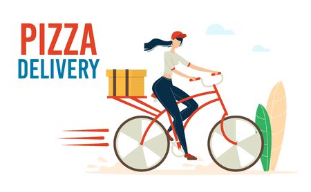 Pizza Express Delivery Service Trendy Flat Vector Advertising Banner, Poster Template with Female Courier, Woman Riding Bicycle, Hurrying While Delivering Cardboard Box, Restaurant Order Illustration Ilustracja
