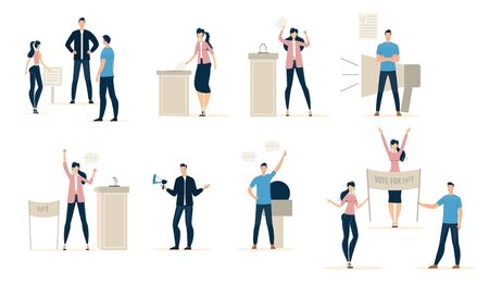People Voting on Democratic Elections, Taking Part in Political Rally, Elections Candidates Agitating Voters, Making Public Speech, Voters Puts Bulletin in Ballot Box Trendy Flat Vector Illustrations