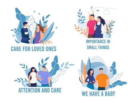 Happy Pregnancy Flat Cards Set. Husband and Pregnant Wife Cartoon Collection. Care for Loved Ones, Importance in Small Things, Attention and Care, We Have Baby Lettering. Vector Illustration