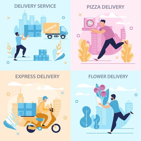 Set Informational Poster Delivery Service Flat. Flyer Written Flower, Pizza and Express Delivery. Safety Precautions, Lunch Break. Men Deliver around City Cartoon. Vector Illustration. Zdjęcie Seryjne - 134558536