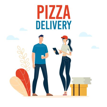 Pizzeria Delivery Service Trendy Flat Vector Advertising Banner, Promo Poster Template with Female Courier in Uniform, Checking Delivery Address on Tablet, Giving Pizza to Male Client Illustration Ilustracja