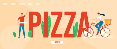 Pizzeria, Fast Food Restaurant or Cafe Trendy Flat Vector Web Banner, Landing Page Template with Deliveryman Holding Pizza Boxes, Female Courier on Bicycle Delivering Clients Order Illustration
