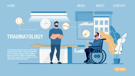 Flat Landing Page for Online Traumatology Medical Center. Patient on Wheelchair with Fractured Injured Leg in Gypsum. Doctor Consulting Treating Man. Telemedicine. Vector Cartoon Illustration 向量圖像