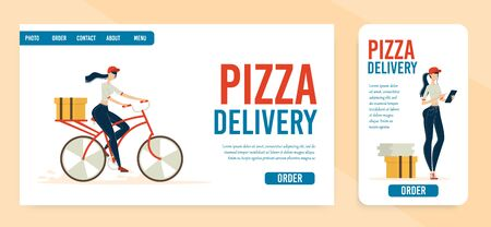 Pizzeria Pizza Delivery Service Trendy Flat Vector Horizontal and Vertical Web Banner, Landing Page. Female Courier, Crew Member Taking Clients Orders Online, Delivering Pizza on Bicycle Illustration Ilustracja