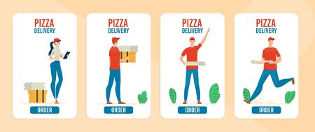 Pizza Delivery Online Service, Fast Food Restaurant, Pizzeria Mobile App Trendy Flat Vector Vertical Web Banners, Landing Pages Templates Set. Deliveryman, Courier Girl Delivering Orders Illustration Ilustracja
