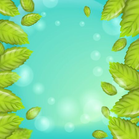 Realistic Illustration Fresh Mint Leaves on Green Background. Frame with vertical Mint Leaves on Banner, Brochure or Flyer Advertising purposes. 3d Vector image Mint Leaves in Bubbles. Ilustracja