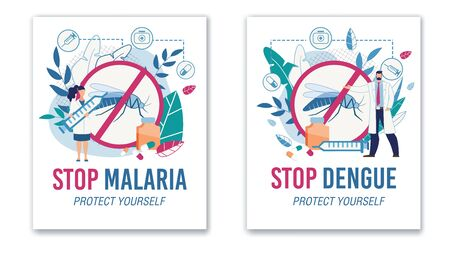 Stop Malaria and Dengue. Protective Sign No Mosquitos. Specialist Offering Vaccine Against Insects Bites. Tertian and Yellow Fever Protection. Promotion Flat Poster Set. Vector Cartoon Illustration Illustration
