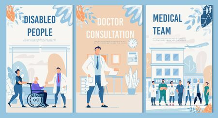 Physical Therapy and Rehabilitation Professional Services Hospital Set. Disabled People, Doctor Consultation, Medical Team Flat Flyers Collection. Healthcare and Medicine. Vector Cartoon Illustration Ilustrace