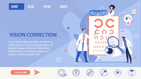 Vision Correction Methods Selection Trendy Flat Informational Landing Page. Refractionists and Ophthalmologists Conducting Modern Optical Eyes Tests, Special Glasses. Vector Cartoon Illustration