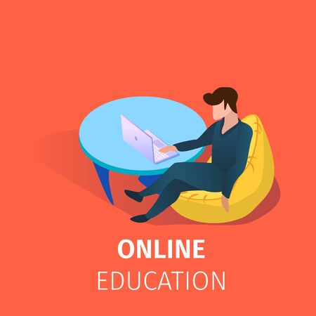 Young Man Sitting in Armchair at Laptop Screen Watching Webinar. Distance Learning. Student Gaining Online Education Using Internet Technology. 3D Isometric Cartoon Vector Illustration, Square Banner. Zdjęcie Seryjne - 134558585
