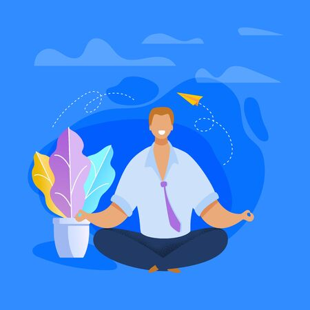 Office Worker Meditating Flat Vector Illustration. Relaxed Businessman in Lotus Position Clearing Mind. Calm, Peaceful, Smiling Employee Taking Break During Workday. Time Management Concept
