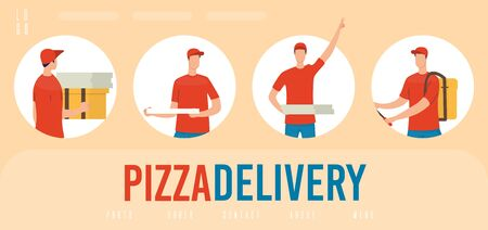 Pizzeria, Fast Food Restaurant Pizza Delivery Service Trendy Flat Vector Advertising Web Banner, Landing Page Template with Deliveryman, Male Courier in Uniform Delivering Clients Orders Illustration