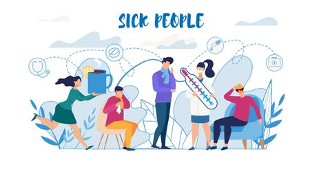Sick People Suffering from Flu Need Help Flat Poster. Man and Woman Characters Feeling Unwell, Having Cold, High Temperature. Cough, Running Nose, Headache Symptoms. Vector Cartoon Illustration