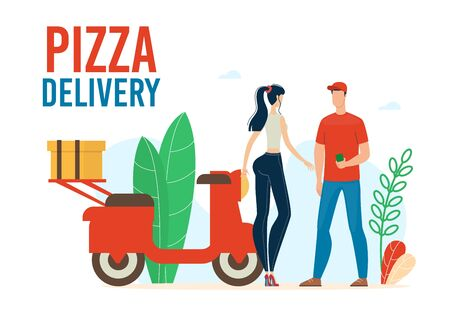 Pizza Delivery Service Trendy Flat Vector Advertising Banner, Promo Poster Template with Fast Food Restaurant or Cafe Deliveryman, Courier Delivering Order on Scooter to Female Client Illustration
