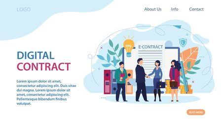 Advertising Banner Digital Contract Lettering. Normal Office Conditions. Man in Suit Shakes Hands with Woman with Briefcase. Man in Suit Shakes Hands with Woman with Briefcase Cartoon. Illustration
