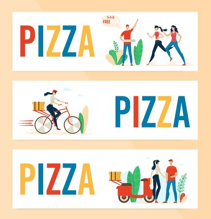 Pizzeria, Fast Food Cafe or Restaurant Trendy Flat Vector Horizontal Advertising Banners, Promotion Posters Templates Set with Deliveryman, Courier Girl Delivering Pizza Orders to Clients Illustration Ilustracja