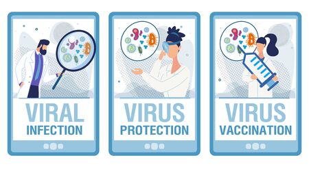Diagnóstico de infección viral. Médicos en uniforme con lupas investigando pruebas de laboratorio, ofreciendo vacunas, examinando la garganta con reflector frontal. Conjunto de página de destino. Ilustración vectorial Ilustración de vector