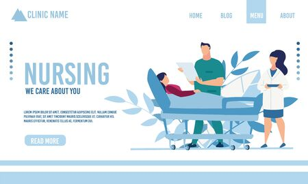 Flat Landing Page Advertising Nursing and Physical Therapy Medical Service. Doctor and Nurse Treating Seriously Ill Woman Lying on Hospital Bed. Healthcare and Telemedicine. Vector Illustration Illustration
