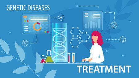 Genetic Disease Treatment Prevention Flat Medical Poster. Cartoon Woman Scientists Doing Lab Research, Typing on Keyboard. Gene Therapy. Determination Predisposition to Disorders. Vector Illustration