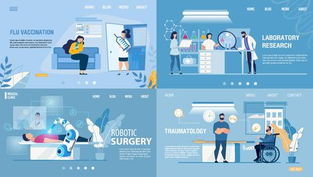 Modern Medical Healthcare Service Landing Page Set. Cartoon Doctors and Patients. Flu Preventive Vaccination, Laboratory Research, Robotic Surgery, Traumatology Department. Vector Flat Illustration