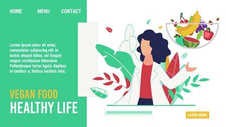 Vegan Food for Healthy Life Promoting Flat Landing Page. Cartoon Female Doctor Nutritionist Dieting Expert Describing Fruits and Vegetables in Human Diet Benefits Design. Vector Illustration