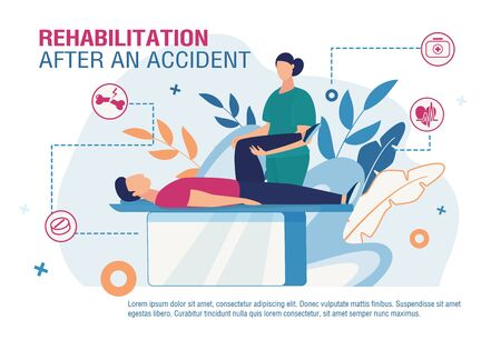Rehabilitation after Accident Advertising Poster. Cartoon Doctor Physiotherapist Working with Patient Leg after Injury, Trauma. Orthopedics Medicine. Telemedicine Banner. Vector Flat Illustration