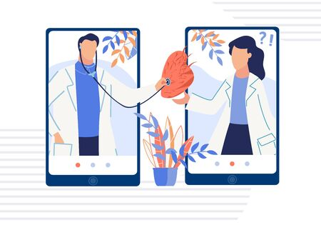 Medical Diagnostic Heart Disease. Online Medicine. Virtual Health Care Consultation. Cardiological App Service. Man Woman Doctors on Two Mobile Phones Screens Listening Heartbeat. Vector Illustration Illustration