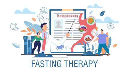 Fasting Therapy Obesity Treatment Promotion Poster. Vector Cartoon Overweight Man and Woman at Doctor Consultation. Specialist Nutritionist Offering Therapeutic Hunger Cure Illustration