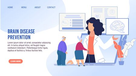 Brain Disease Prevention, Early Determination, Treatment. Cartoon Old Senior Man and Aged Woman Pensioner Having Online Doctor Consolation. Flat Landing Page Layout Design. Vector Illustration