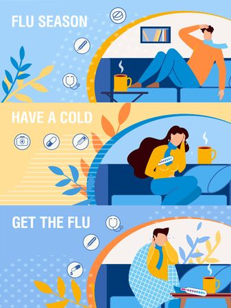 Cartoon Sick People Male and Female Characters on Sofa under Blanket, with Thermometer, Drinking Hot Medicinal Tea. Flu Season Flat Header Banner Webpage Design Set. Vector Illustration Vettoriali