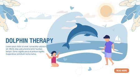 Dolphin Therapy Alternative Medicine Trendy Flat Landing Page. Cartoon Children Characters Psychological Rehabilitation, Treatment, Communication with Cute Sea Animals. Vector Illustration Ilustracja