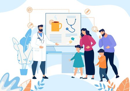 Sick Family with Cough Visiting Doctor Cartoon. Father, Mother, Son, Daughter at Physician Appointment. Hot Drinks and Pills Therapist Prescription in Patients Card. Vector Illustration Ilustracja