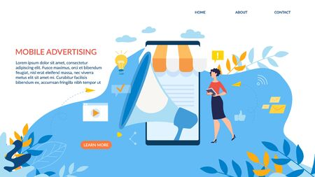 Advertising Banner is Written Mobile Advertising. Poster Office Communication Rules. Girl with Folder Pokes Near Large Smartphone. Loudspeaker on Screen Cartoon. Vector Illustration.