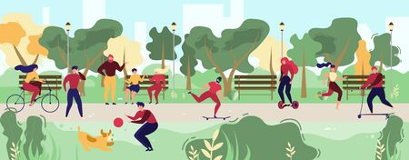Activities in City Park Flat Vector Concept. People Resting on Bench, Meeting with Friends, Running, Riding Bicycle, Hoverboard and Skateboard, Playing with Pet Illustration. Modern City Public Space