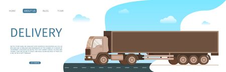 Storage Freight Delivery Truck Moving the Road. Side View of Fast Shipping Brown Van Driving to Smoke under Wheel. Warehouse Car Distribution Service. Flat Cartoon Vector Illustration Ilustração