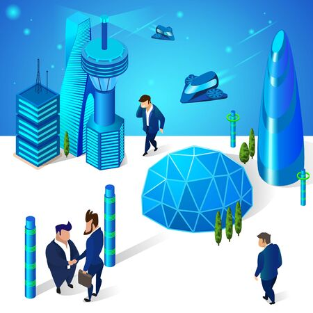Business People Living in Modern City with Futuristic Architecture. Glass Sphere Dome and Multistorey Buildings. Walking at Street. Spaceships Airplane Flying. 3D Isometric Cartoon Vector Illustration