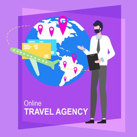 Online Travel Agency Cartoon Man Worker Vector Illustration. Male Agent Hot Ticket Tour Computer Booking Hotel Service Internet Appartment Reservation Trip Vacation Mobile Phone Application 向量圖像