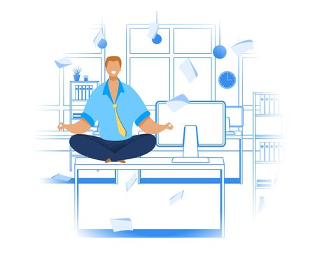 Office Worker Meditating Flat Vector Illustration. Relaxed Businessman in Lotus Position. Calm, Smiling Employee Taking Break During Workday. Time Management Concept. Office Linear Interior Background